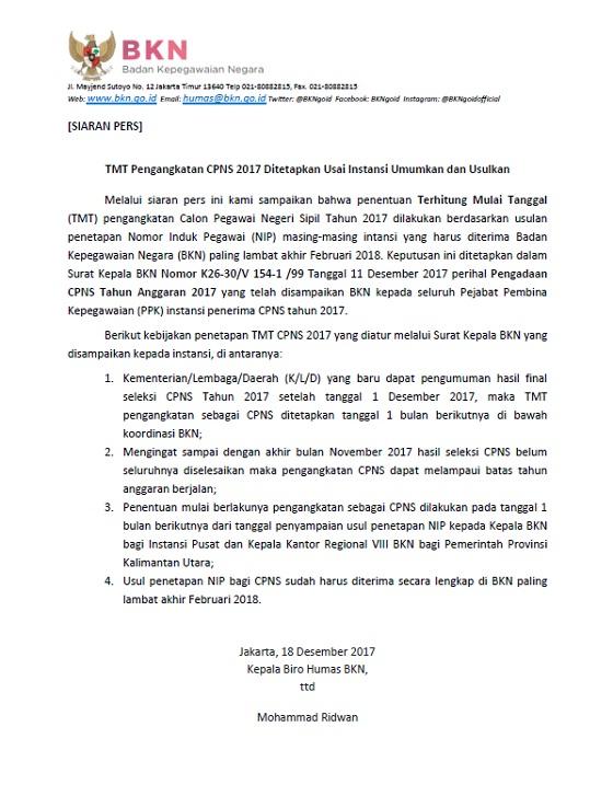 BKN: TMT Pengangkatan CPNS 2017 Ditetapkan Usai Instansi Umumkan dan Usulkan