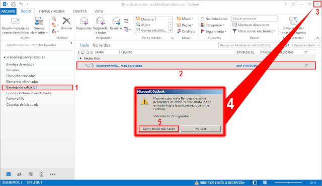 Hay mensajes en la Bandeja de Salida pendientes de envió. Si sale ahora, no se enviaran hasta la próxima vez que inicie Outlook.