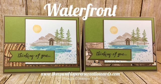 Card, Waterfront Stamp Set, Watercolor, Wood Textures Paper