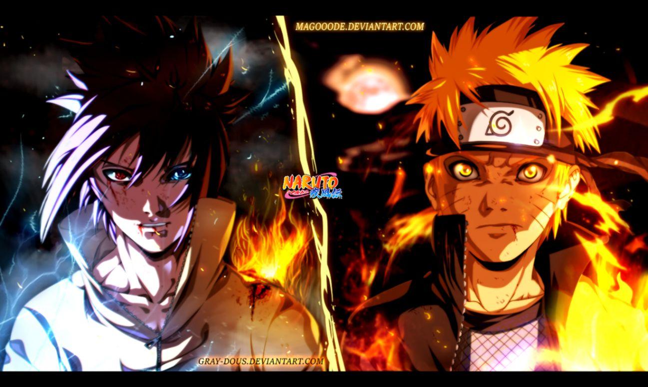 Naruto and Sasuke Wallpaper and Background Image 1366x825 ID