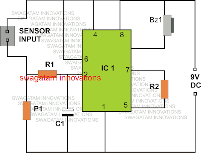 IC 555 based rain sensor circuit