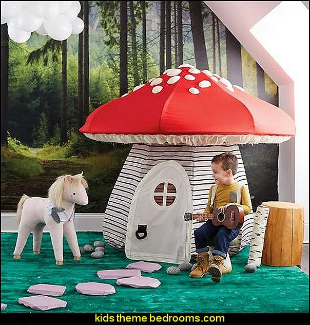 Mushroom Playhouse  fairytale forest theme playrooms kids bedroom decorating ideas   woodland forest theme bedroom fairies decor playrooms  woodland nursery decor - woodland animal decorations - fairy woodland bedrooms - deer wall mural - snow white themed bedroom decorating ideas - fairy forest theme bedrooms -