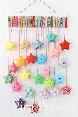 Calendario de estrellas DIY de origami