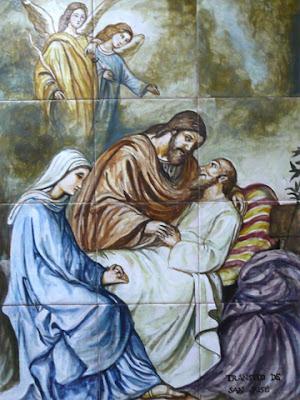 Imágenes de la Sagrada Familia  Muerte de José (azulejos) 92da8c8141f