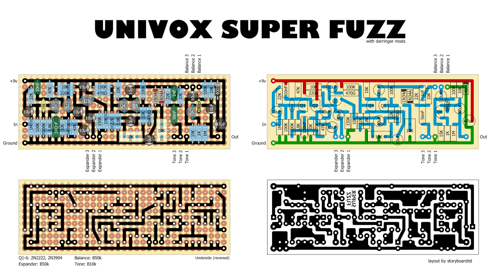perf and pcb effects layouts univox superfuzz modded. Black Bedroom Furniture Sets. Home Design Ideas