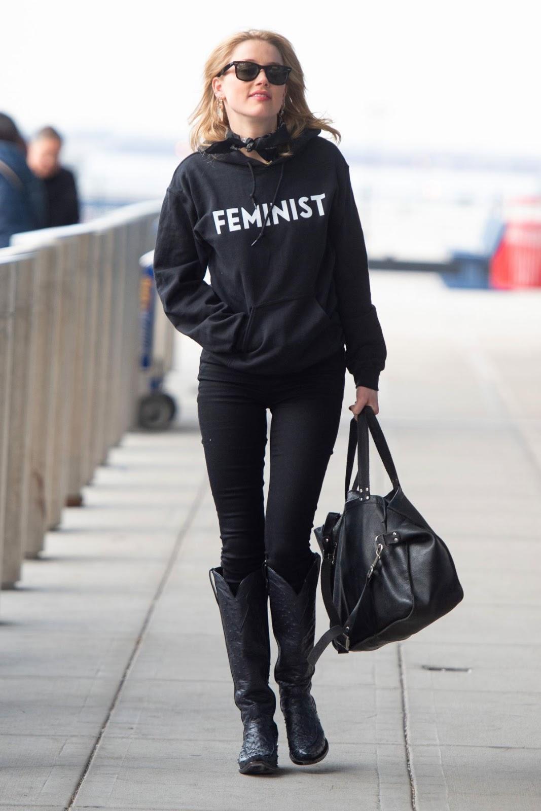 Amber Heard wears Feminist hoodie at JKF Airport