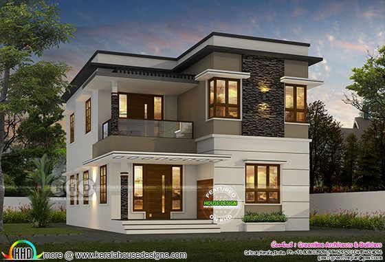 1600 sq-ft 4 bedroom modern flat roof house