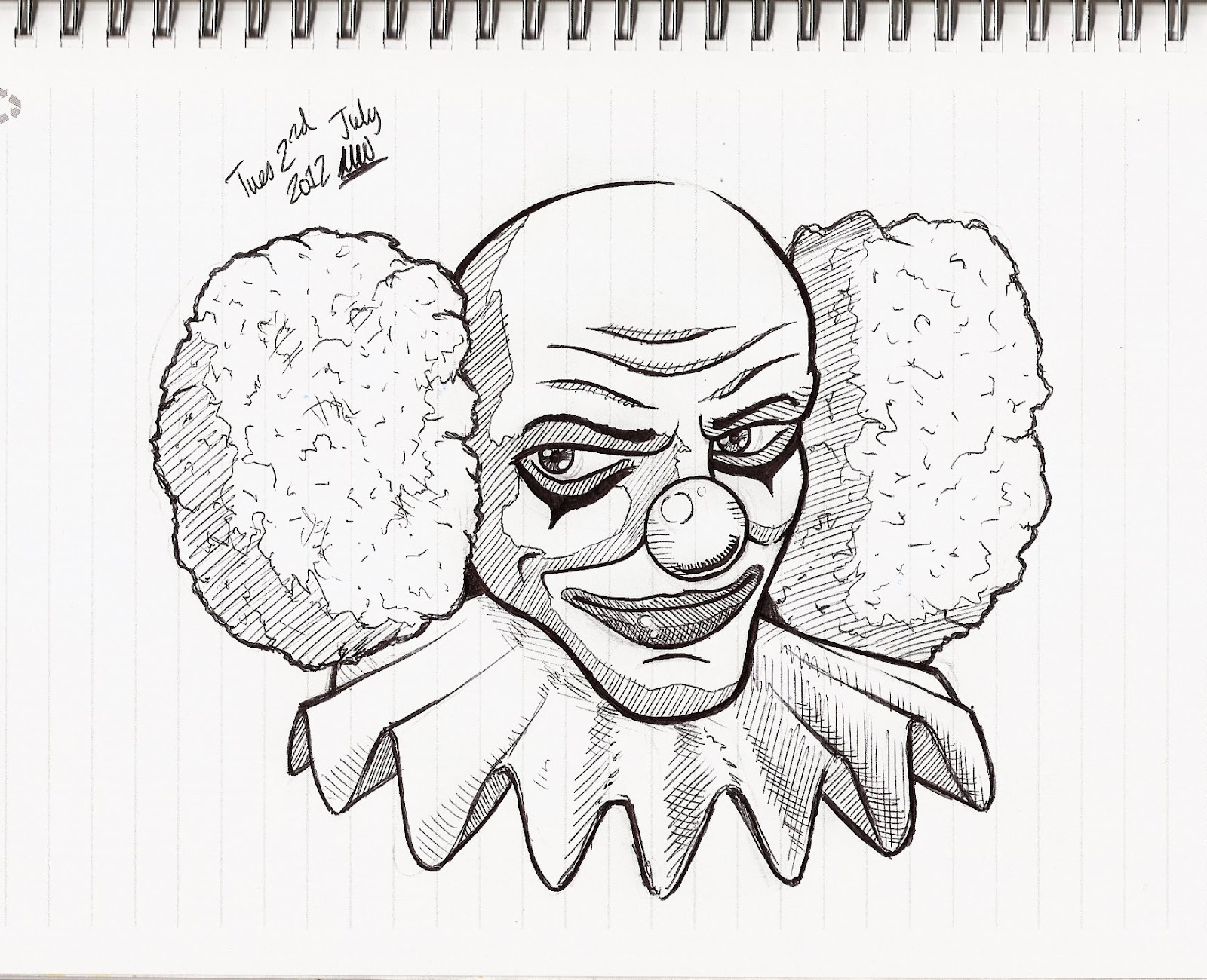 Scary Clown Drawing: Martins Picture A Day Blog: DAY 155