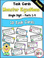 Free Monster Task Cards using Single Digits