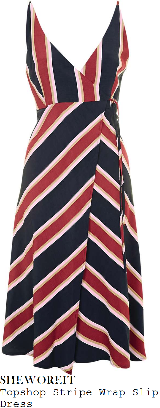 caroline-flack-topshop-red-navy-blue-baby-pink-and-gold-mixed-stripe-print-sleeveless-v-neck-wrap-front-slip-dress