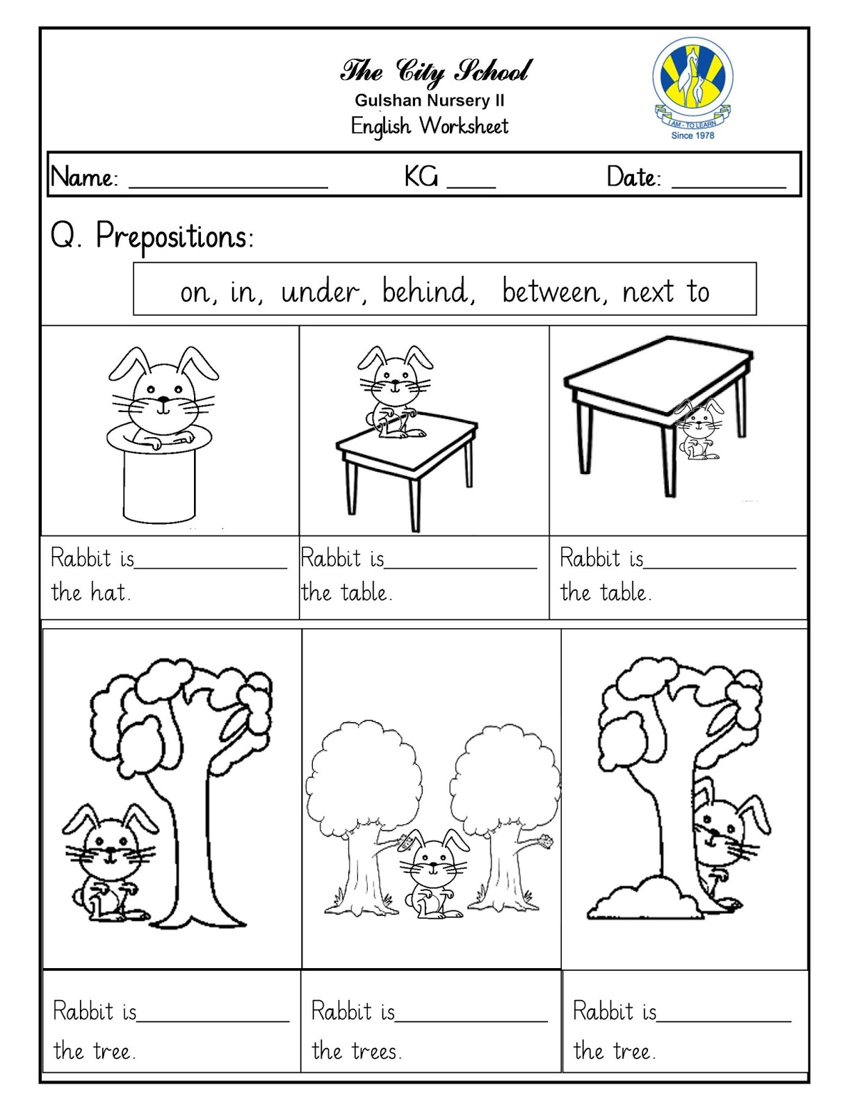 Fourth Grade Preposition Worksheet