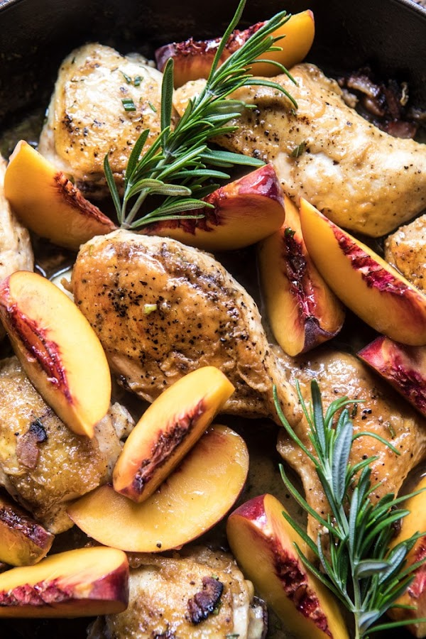 ROSEMARY PEACH CHICKEN IN A WHITE WINE PAN SAUCE