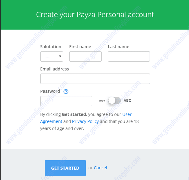 How to create account on Payza India