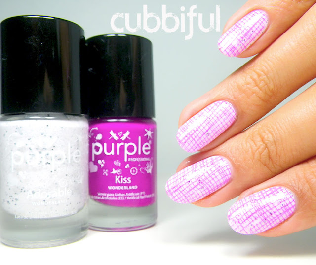 stamping nails over glitter