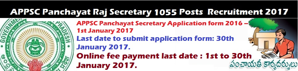 APPSC-Panchayat-Raj-Secretary-1055 Posts-Recruitment-2017-Syllabus-Exam-pattern-Old-papers-Important-dates