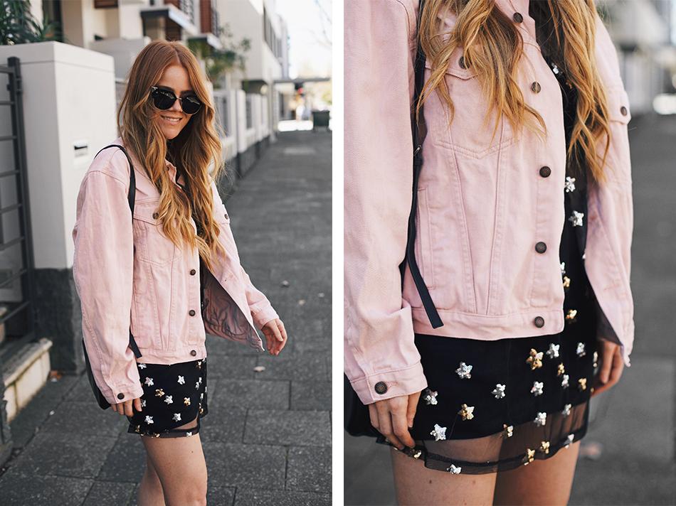 Kiara King, pink denim jacket, sequin mesh dress, Fendi Arrow Accent Sunglasses, Status Anxiety bag