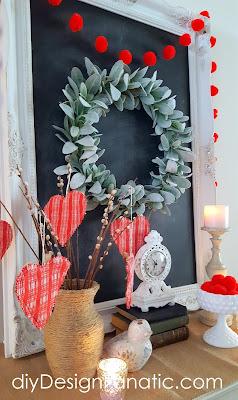 Valentine Vignette, Vintage Valentine Hearts, Valentine Hearts, Pom Pom Garland, farmhouse, cottage