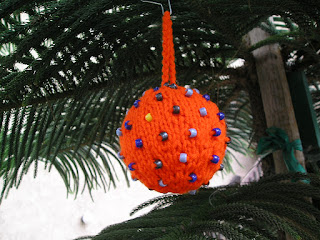 Orange Knitted Christmas Tree Ornament