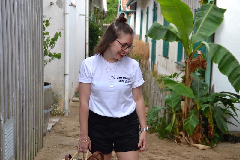 t-shirt tunetoo et short en jean noir Pimkie