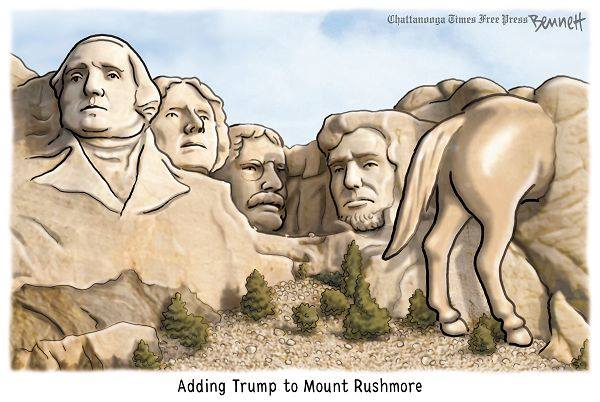 Picture of Mt. Rushmore with the rear end of a horse to the right of Lincoln.  Caption:  Adding Trump to Mt. Rushmore.