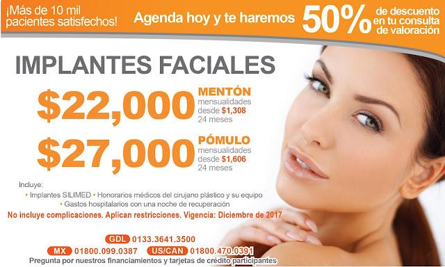 Precio Paquete Cirugia Plastica Estetica Implantes Faciales Menton Pomulo Guadalajara Mexico