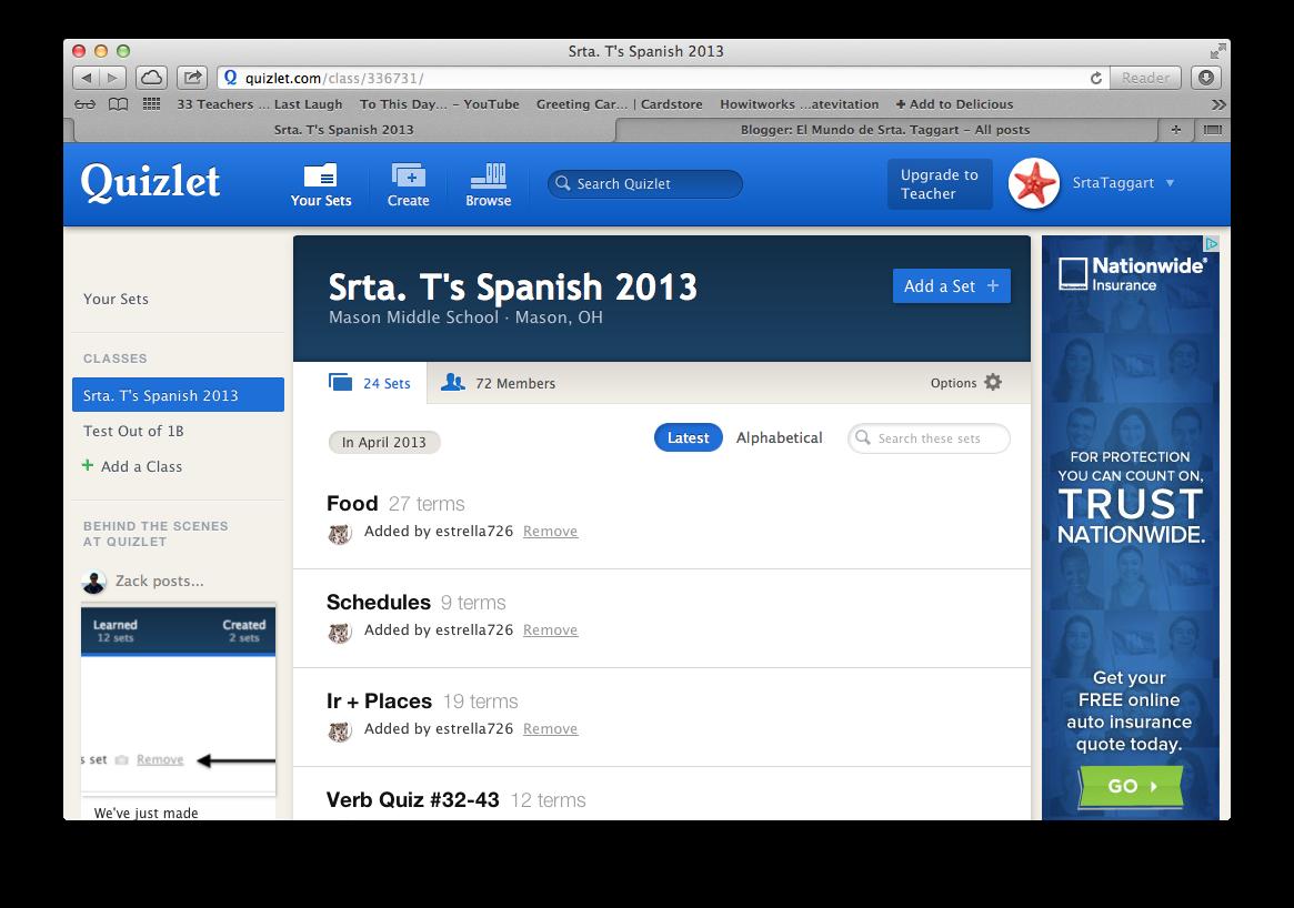 Quizlet Website and App   El Mundo de Srta  Taggart