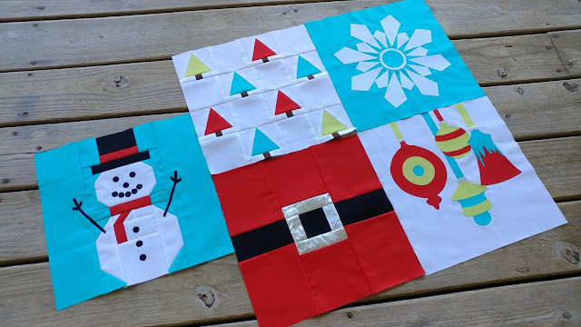 Quilt blocks 1-5 for I Wish You a Merry Quilt Along