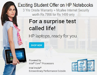 Back2College Exciting Student Offer on HP Notebooks @ Flipkart – Exciting Offers + Save Rs.6499 towards 2 Years Extended Warranty