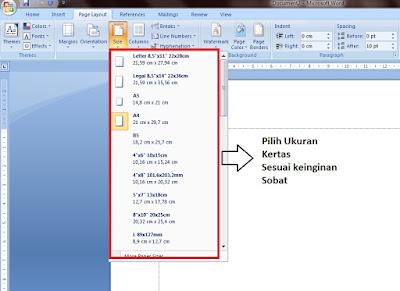 cara mengatur ukuran kertas pada microsoft word