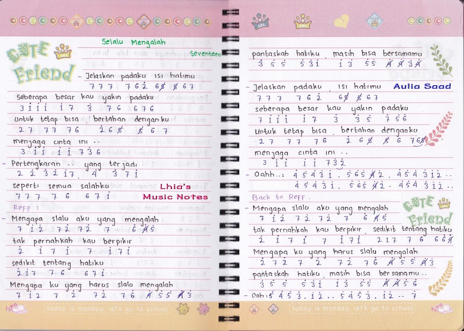 Not Angka : Seventeen – Selalu Mengalah | Lhia's Music Notes