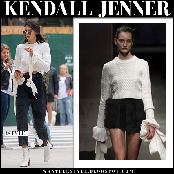 Kendall Jenner in white knit milly sweater and white boots kurt geiger strut what she wore april 29 2017