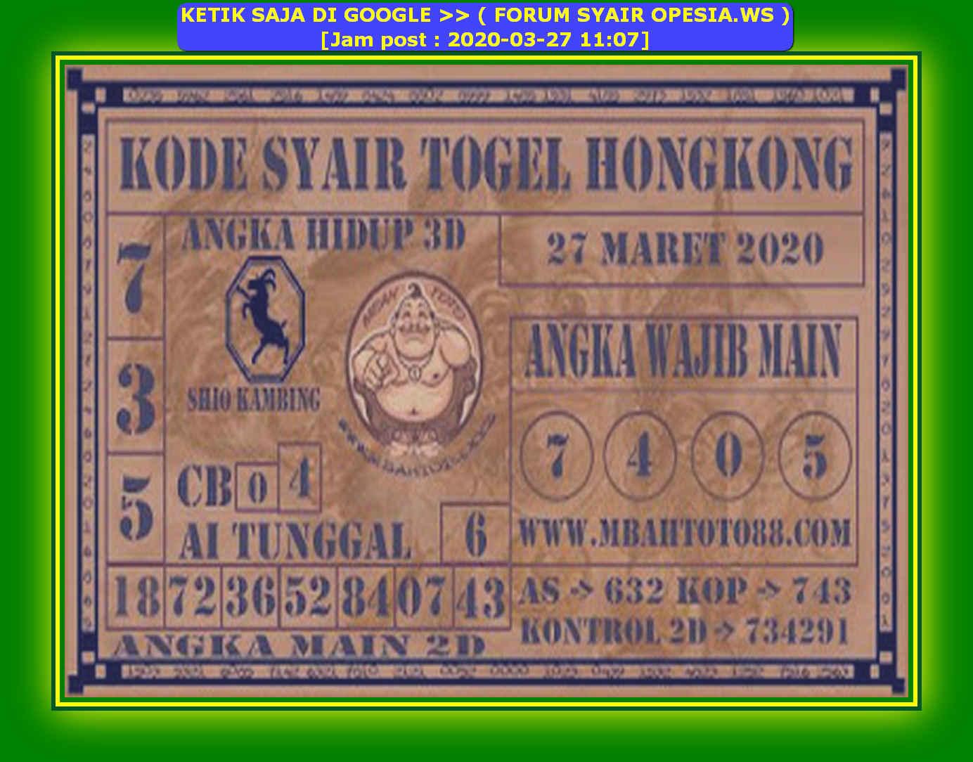 Kode syair Hongkong Jumat 27 Maret 2020 161