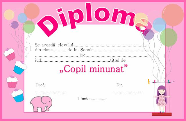 Diploma pentru 1 Iunie - Ziua Copilului