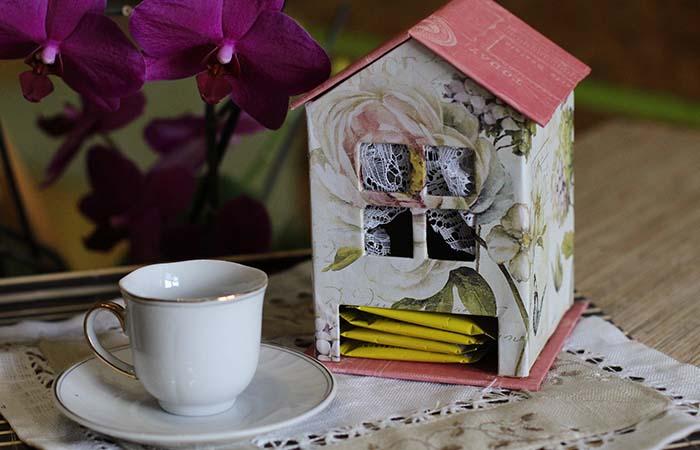 el yapımı kartondan çay kutusu