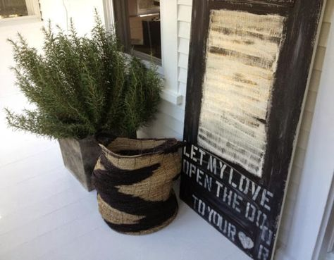 Let My Love Open the Door painting Rustic urban typography on wood by Hello Lovely Studio