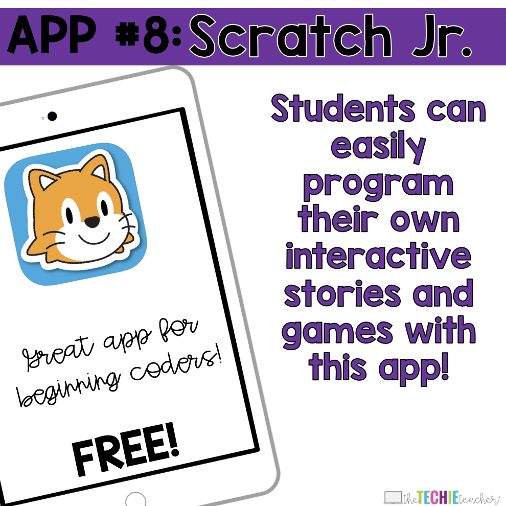 Scratch Jr App: Students can easily program their own interactive stories and games with this app!