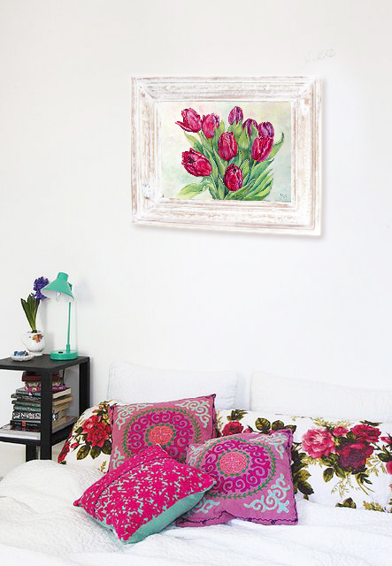 Original oil painting Tulips by Daria Artwind. Interior ideas for bedroom