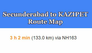 Secunderabad to Kazipet Route Map