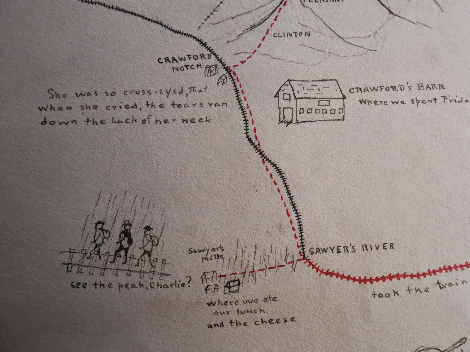 A detail from the map, showing three walking figures.