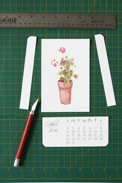 watercolor art print calendar, 2016 calendar, watercolor calendar, floral calendar, botanical calendar, Anne Butera, My Giant Strawberry