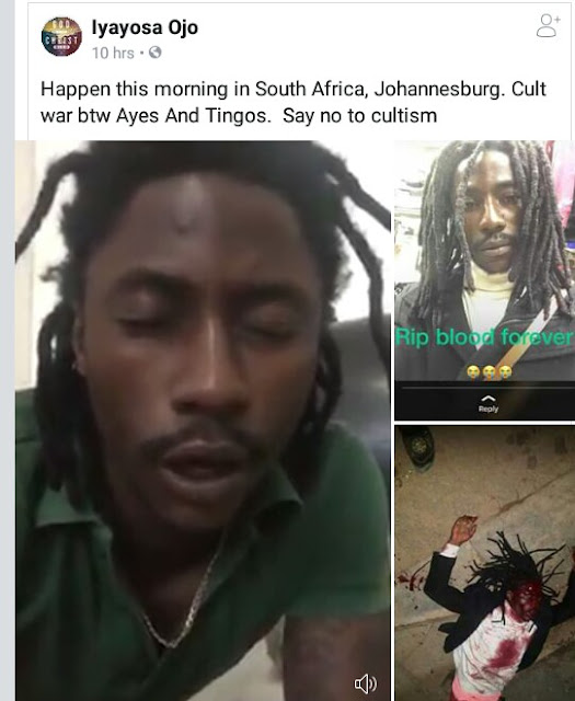 Suspected Nigerian 'Black Axe' member shot dead in Johannesburg, South Africa