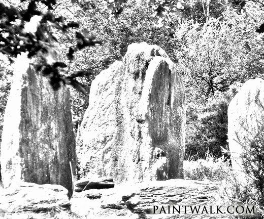 Digital sketch showing sculpted faces in the standing stones at monteneuf