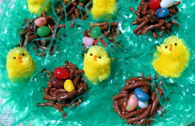 these are a candy for Easter with jelly beans and chocolate coated chinese noodles