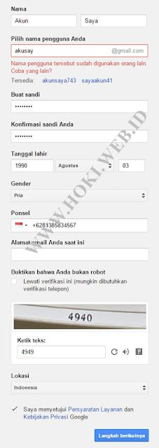 Cara membuat email Gmail dari Google.