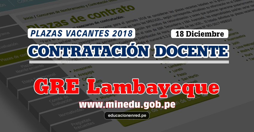 GRE Lambayeque: Plazas Vacantes Contrato Docente 2018 (.PDF) www.educacion.regionlambayeque.gob.pe
