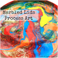 Marbled Lids Process Art for Kids