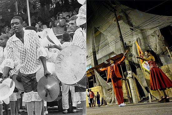 Bateria da escola de samba Lavapés em desfile de 1970 e ensaio em rua da Zona Leste. Foto: Divulgação