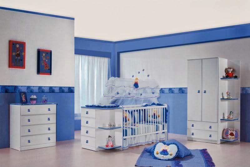 Cuartos de beb en celeste y blanco colores en casa - Cojines para habitacion de bebe ...