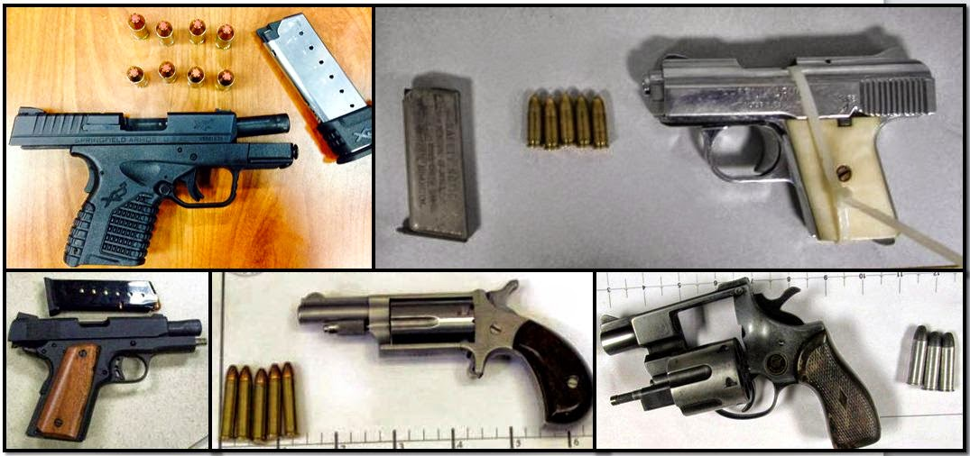 Clockwise from top left, these firearms were discovered in carry-on bags at: ATL, JAX, MDW, MSO & CLT