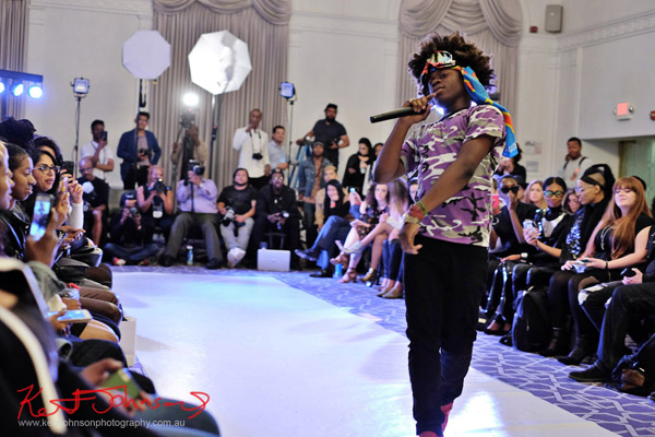 Eye contact! King Imprint & Kandi Reign Dance It Up LIVE at NYFW - Photographed by Kent Johnson for Street Fashion Sydney.